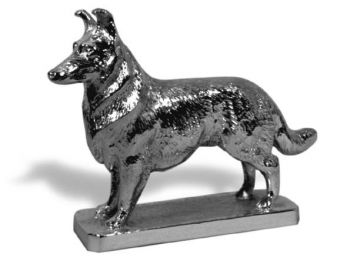 Collie Hood Ornament or Car Mascot by Louis Lejeune comes in chrome, bronze, enamel or gold plated