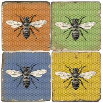 Colorful Bees Coasters set of 4 Italian Marble Coasters