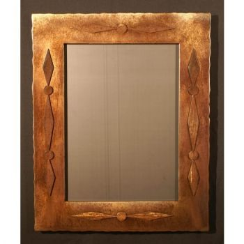 Concha relief rustic metal mirror by Steel Appeal