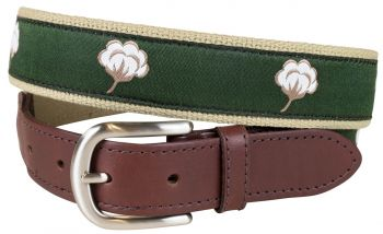 Cotton Flower Leather Tab Belt by Belted Cow