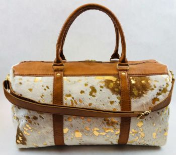 Cow Hide Fur & Leather Duffel Bag - Gold/Beige