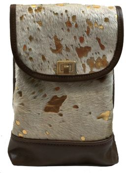 Cow Hide and Leather Mini Backpack