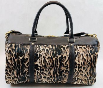 Cow Hide Fur & Leather weekender Duffel Bag - Snow Leopard Design