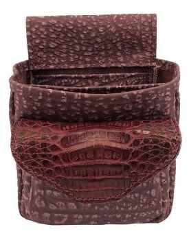 Crocodile Hornback Skin & Cape Buffalo Hide Shotgun Shell Pouch Deluxe - Ladies Pink / Burgundy