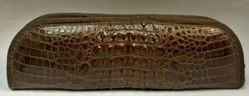 Crocodile Hornback Skin Knife Case - Brown - Front