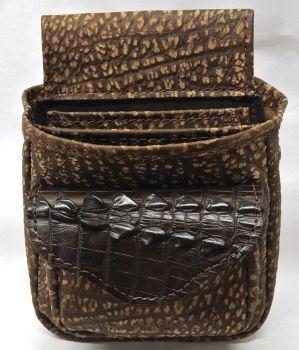 Crocodile Hornback Skin Tail & Cape Buffalo Hide Shotgun Shell Pouch Deluxe - Brown or Black