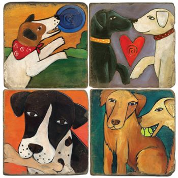 Sticks 2Dogs paintings Italian Marble Coasters and Accessories