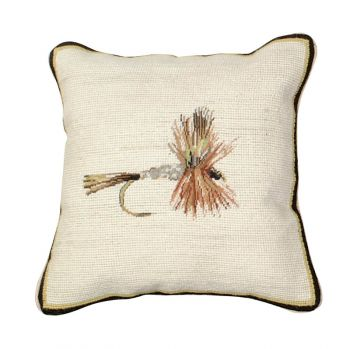 Dark Hendrickson Mixed Stitch Needlepoint Pillow by Michaelian Home