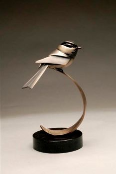 Dee is a chickadee bronze sculpture by Don Rambadt