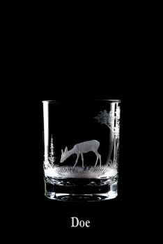 12 oz. Old Fashioned Doe Glass Queen Lace Crystal - Hand-engraved Crystal -  American Wildlife Series
