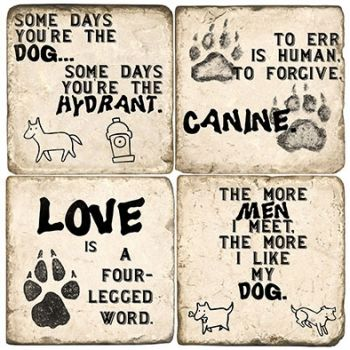 Dog Quotes Italian Marble Coasters