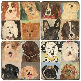 Dogs Paintings Italian Marble Coasters and Accessories