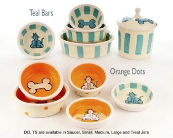 Dots and Barsware dog bowls and cat bowls from Petware Pottery