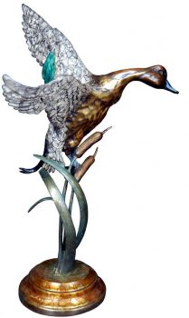 Descending Sprig is a drake pintail landing bronze sculpture by Christopher Smith