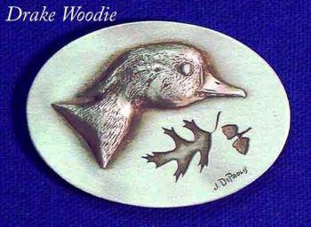 Drake Wood Duck sculptured pewter buckle by Lou DePaolis