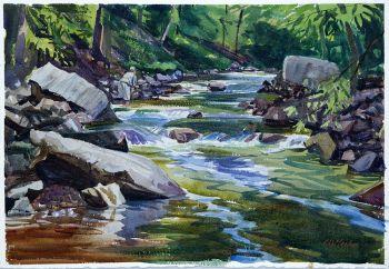 Dream Water - An original watercolor of a fishing scene by CD Clarke