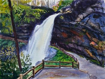 Watercolor painting fo Dry Falls by CD Clarke