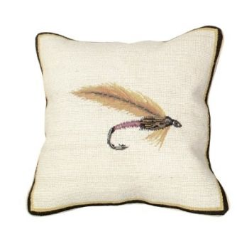 Dry Fly Mixed Sticha Needlepoint Pillow by Michaelian Home
