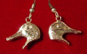 Duck French Loop Sterling Silver Earrings - gold shown - by Dick Cook