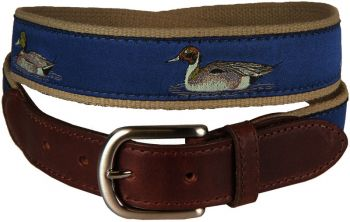 Ducks on Blue Background Leather Tab Belt by Belted Cow