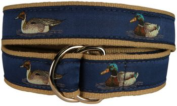 Belted Cow Ducks with Blue Background D-Ring Belt