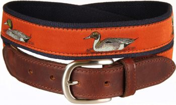 Ducks on Sienna Background Leather Tab Belt by Belted Cow