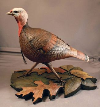 Eastern Wild Turkey wood carving by Randal Martin