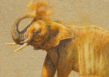 Elephant Miniature painting by Wes Siegrist named Dust Storm