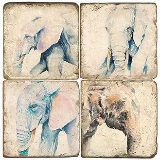 Elephants Italian Marble Coasters and Giftware