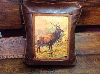 Elk Herd Leather Pillow