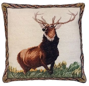 Proud Elk is the title of this Elk needlepoint pillow by Michaelian Home