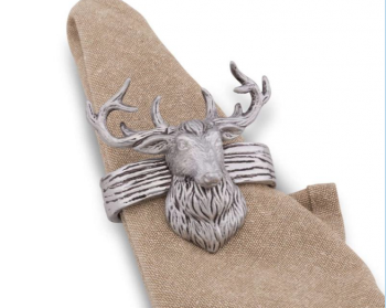 Elk Head Aluminum Napkin Rings