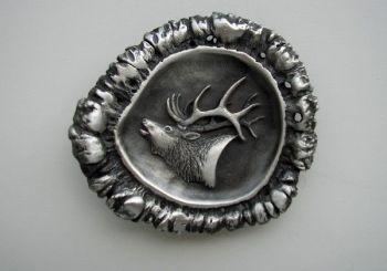 Elk Head on Antler Rosette Pewter Buckle by Sid Bell
