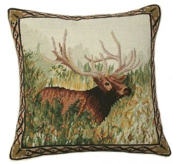 "Elk in the Woods is an 18"" x 18"" Needlepoint pillow by Michaelian Home"