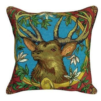 "Elk with Horn 20"" x 20"" Needlepoint Pillow by Michaelian Home"