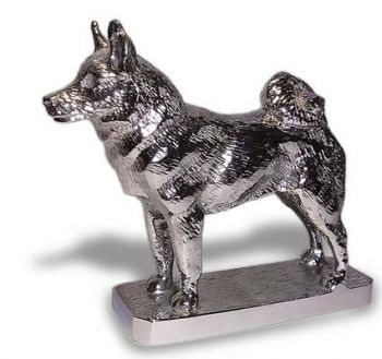 Elkhound Hood Ornament or Car Mascot by Louis Lejeune comes in chrome, bronze, enamel or gold plated