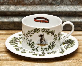 English Pointer Cup and Saucer Plantation China by WM Lamb and Son