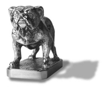 English Bulldog Hood Ornament or Car Mascot by Louis Lejeune comes in chrome, bronze, enamel or gold plated