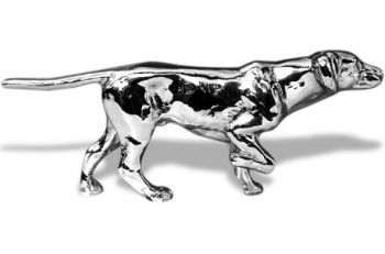 English Pointer Hood Ornament or Car Mascot by Louis Lejeune comes in chrome, bronze, enamel or gold plated