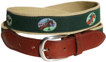 Equestrian Jumping Background Leather Tab Belt by Belted Cow