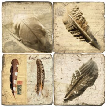 Feathers Vintage Italian Marble Coasters and Giftware