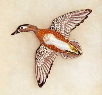 Female Wood Duck Hand-Carved Wood Pin by Dick Cook