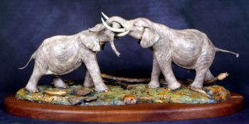Fighting Bulls is the name of this limited eidition bronze sculpture - without tusks by Christopher Smith