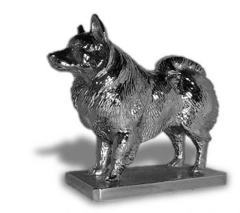 Finnish Spitz Hood Ornament or Car Mascot by Louis Lejeune comes in chrome, bronze, enamel or gold plated