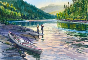 First Light, First Fish is the title of an original watercolor painting of fishing canoes by CD Clarke