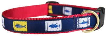 Fish Flags One inch dog collar by Belted Cow