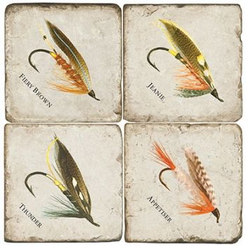 Fishing Lure set of 4 wine coasters by Studio Vertu