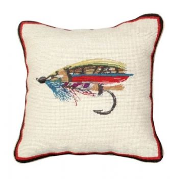 Fly Mixed Stitch Needlepoint Pillow by Michaelian Home
