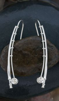 Fly Rod Sterling Silver Earrings by Tight Lines Jewelry