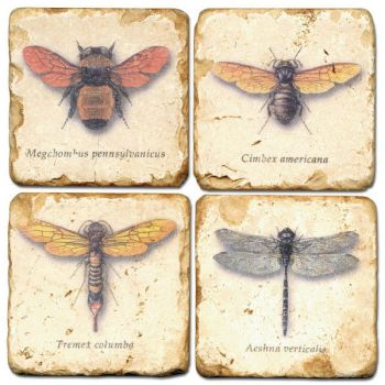 Flying Bugs set of 4 Italian Marble Coasters